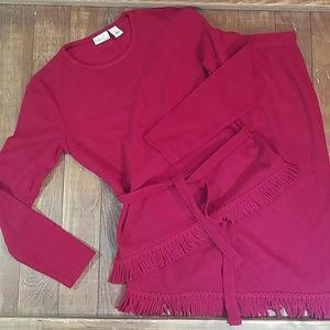 Kim Rogers Fringed Sweater Skirt and Top